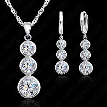 цена Women Fine Jewelry 925 Sterling Silver Crystal Jewelry Sets For Wedding Pendants Necklaces Earring Set Accessory онлайн в 2017 году