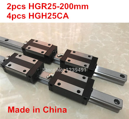 HG linear guide 2pcs HGR25 - 200mm + 4pcs HGH25CA linear block carriage CNC parts free shipping to argentina 2 pcs hgr25 3000mm and hgw25c 4pcs hiwin from taiwan linear guide rail