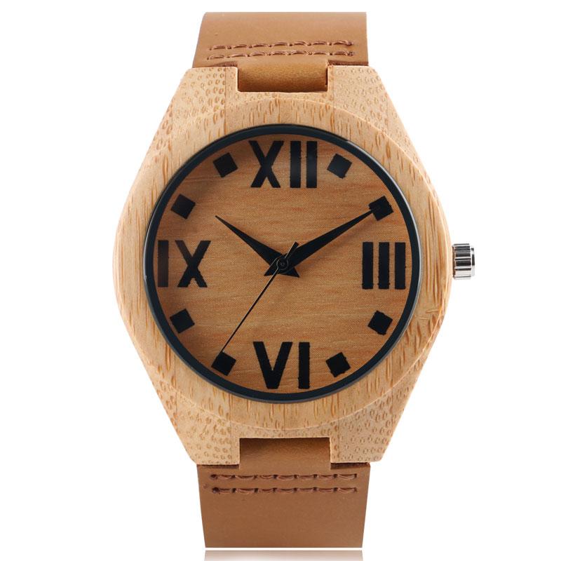 Dřevěné hodinky Novinka Minimalistické Trendy Bamboo Přírodní - Pánské hodinky