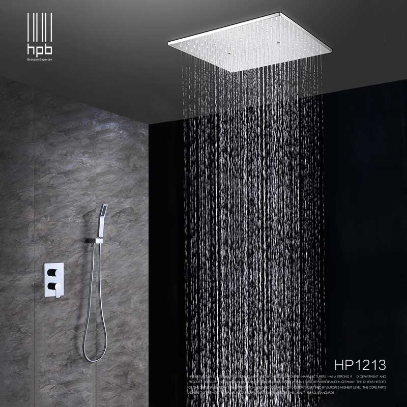 HPB Ceiling Mounted Big Rainfall Shower Head System Bath Rain Mixer Shower Combo Set Brass Polished Chrome With Concealed Box цена