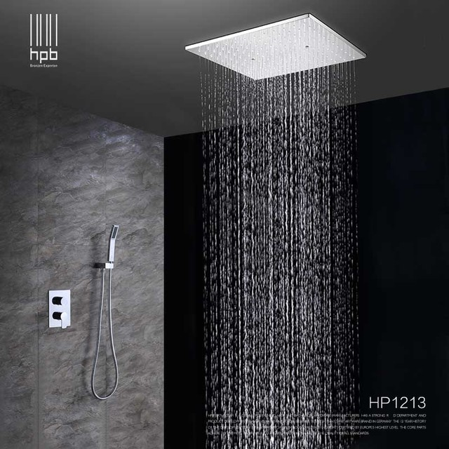 Hpb Ceiling Mounted Rainfall Shower Head System Bath Rain Mixer Combo Set Br Polished