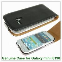 New Arrival Genuine Leather Flip Back Covers Case For Samsung Galaxy SIII Mini I8190 Free Shipping
