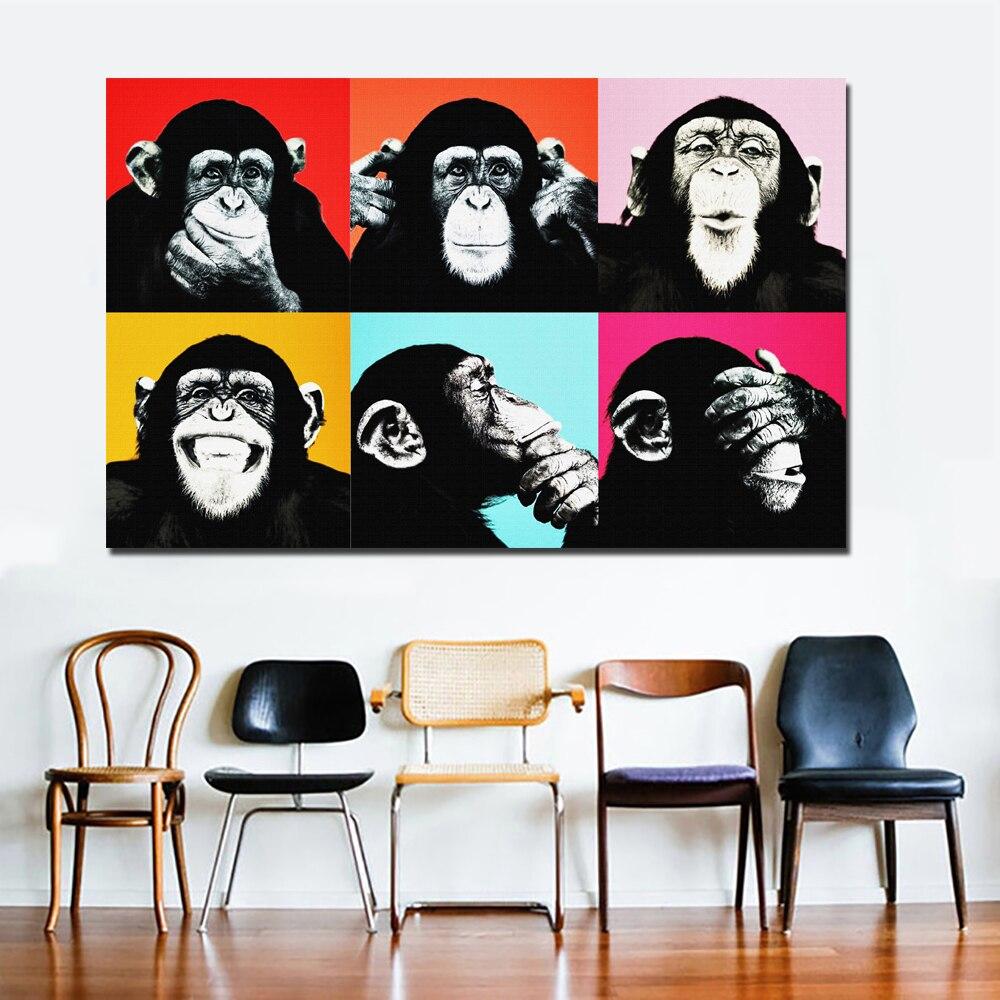 SELFLESSLY Andy Warhol Bunte Affe Tier Poster Druck Leinwand Gemälde ...
