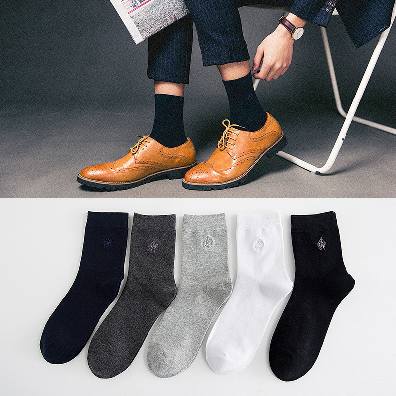 1 Pair Men Socks Polo Classical Gentlemen Cotton Socks Dress Business Casual Breathable Mens Socks Black Grey White calcetines