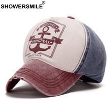 SHOWERSMILE Mens Baseball Cap Burgundy Patchwork Women Dad Hat Washed Cotton Anchor Pattern Autumn Casual Snapback Unisex