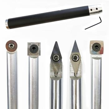 Herramienta de torneado de madera cincel intercambiable tungsteno punta de titanio herramienta de torno insertar cortador puede combinar la herramienta de carpintería de aluminio