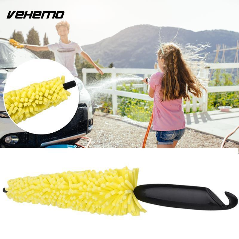 1PC Auto Car Tool Tire Rim Cleaner Black Plastic Handle Yellow Sponge Car Wheel Brush Cleaning Scrub Tool Universal Hot Selling