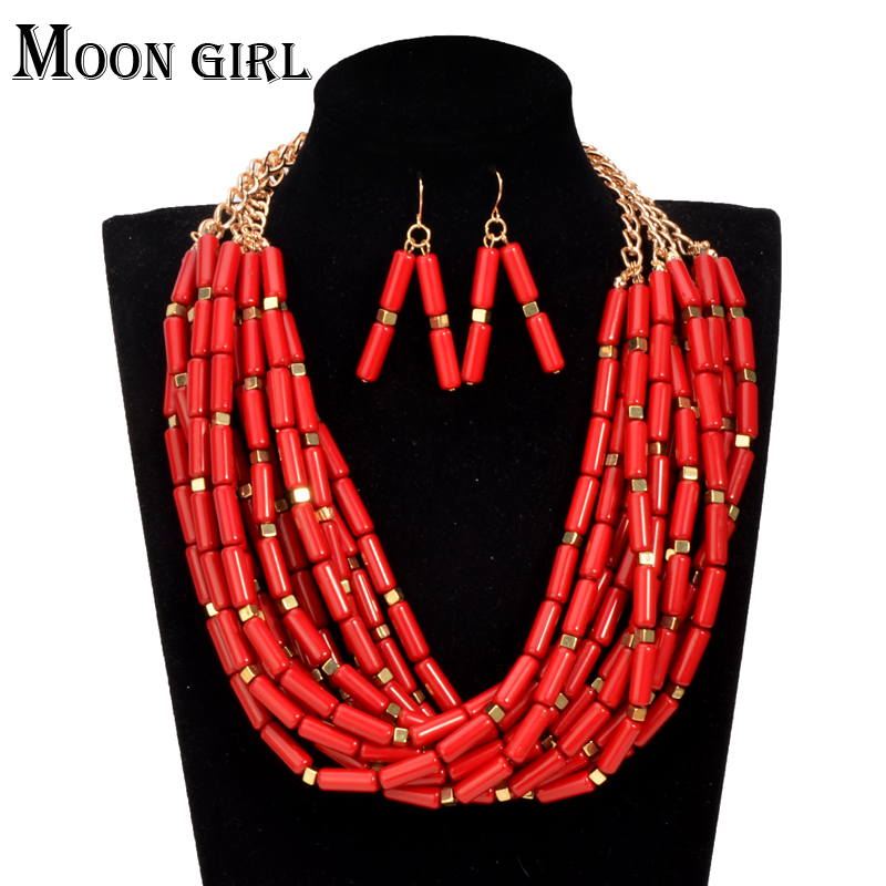 2 color African beads long necklace 2016 indian fashion <font><b>Nigeria</b></font> wedding <font><b>jewelry</b></font> <font><b>set</b></font> statement choker Necklace earrings <font><b>set</b></font> <font><b>women</b></font> image