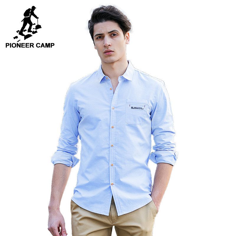 Pioneer Camp mens shirts long sleeve brand clothing autumn s