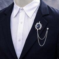 Fashion Retro Accessories Creative Big Flower Shape Tassel Handmade Male Pin Buckle Brooch Metal Chains