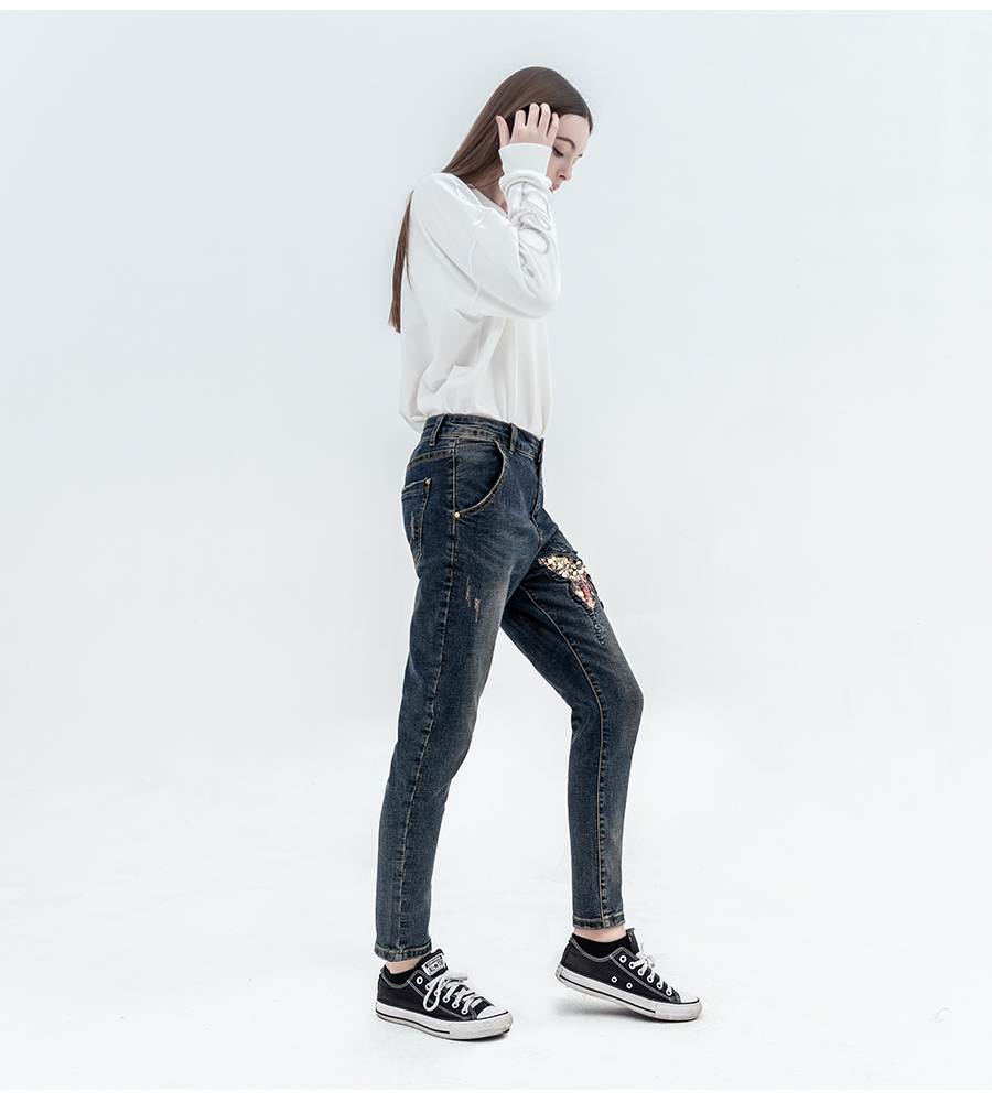 In Quality Luckin Yoyo Women Jeans With Sequin Butterfly Jeans Pants Vintage Color Casual High Quality Cotton Full Length Denim Trousers Excellent