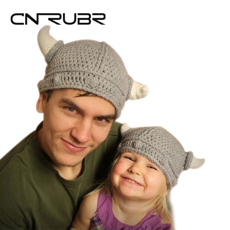 HOT! Fashion Children's Winter Novelty Hat Handmade Crocheted Viking Horns Hats Knitted Kids Skullies Caps ,Free Shipping