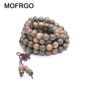 Image 1 - Healing Balance Yoga Wooden Beads Bracelet Natural Green Sandalwood Buddhist Mala Meditation Prayer bracelet For Men Women Gift