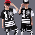 Children Sports Suit Boy Girl Casual Tracksuit Kids Hip Hop Dancewear Boys Summer Clothes Cool Fashion Black White  2016 New