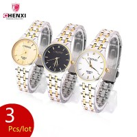 3Pcs/lot Luxury Bracelet Women Quartz Watches Ladies Stainless Steel Gold Watch Woman Dress Bracelet Wristwatch Clock Gift PJ
