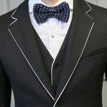 MAUCHLEY The Big Banquet Edging Design Party Dress Vintage Men's Suits Korean Slim Fit Suit Fashion Striped Suit 3 Piece/Set