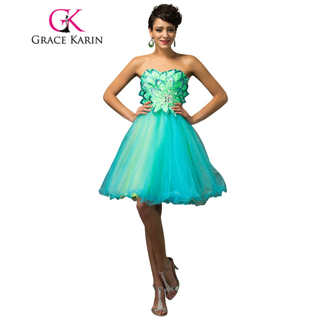 Grace Karin Short Prom Dress Sparkle Beading Mint Green Prom Gowns ...