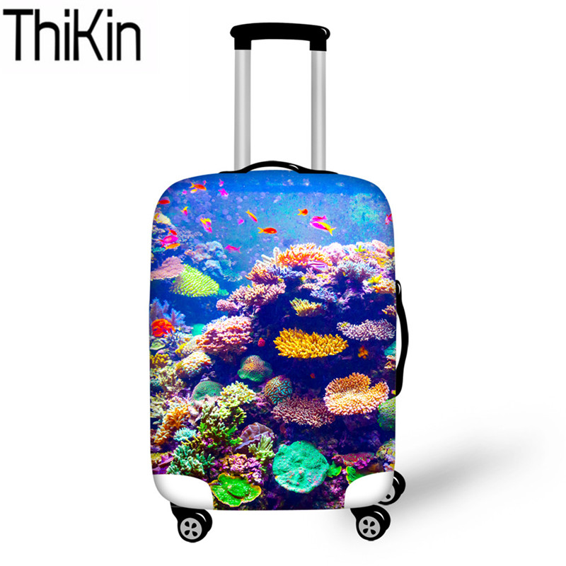 THIKIN Sea World 3D Fish Printing Luggage Covers For Suitcase Protective Elastic Trolley Case Baggage Cover Travel Accessories