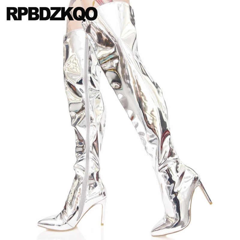 2fce54fddf1 Metallic Big Size Dance Stiletto 12 44 High Heel Thigh Boots For Plus Women  Shoes 10