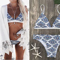 2017 Sexy Ladies White Floral Halter Thong Biquini Swimsuit Swim Beach Wear Bathing Suit Swimwear Women Brazilian Push Up Bikini