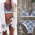 2017 Sexy señoras blanco Floral Halter Tanga Biquini traje de baño natación playa traje de baño mujeres brasileño Bikini Push Up