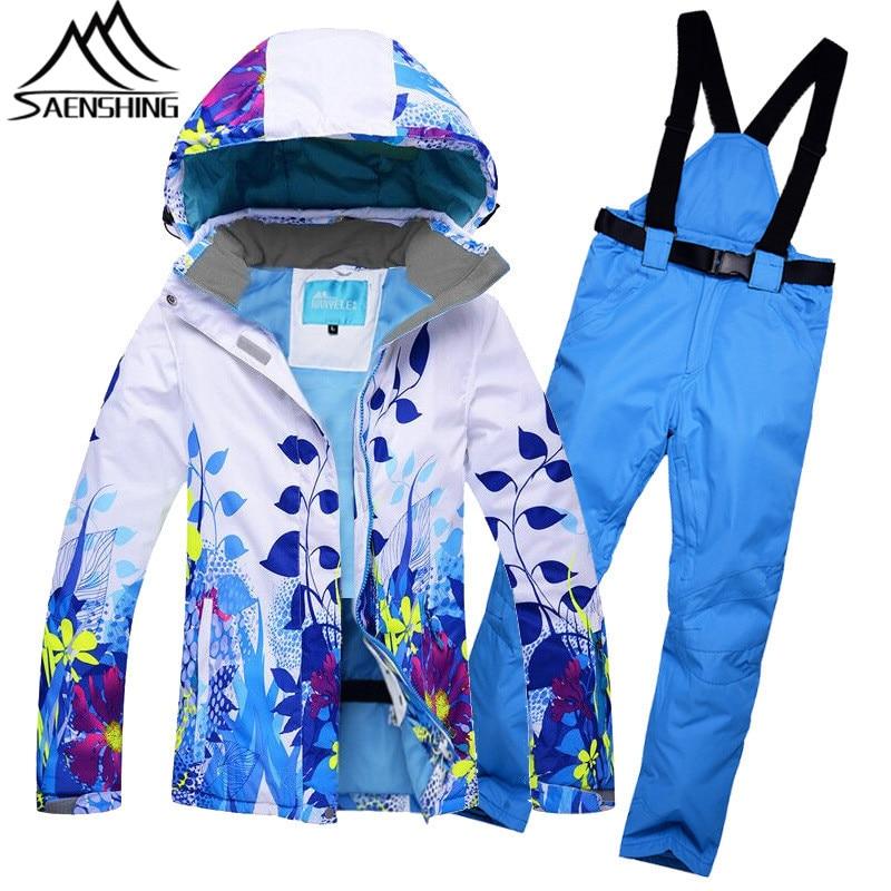 SAENSHING Ski Suit Women Waterproof Mountain Skiing Suit Winter Outdoor Ski Jacket + Snowboard Pants Leaf Pattern Snow Clothing цена