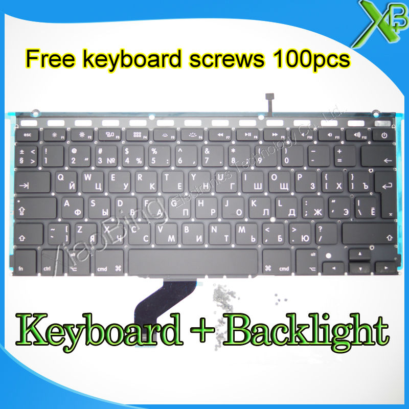 "Brand New For MacBook Pro Retina 13.3 inch"" A1425 RU Russian keyboard+Backlight Backlit+10keyboard screws 2012 Year"""