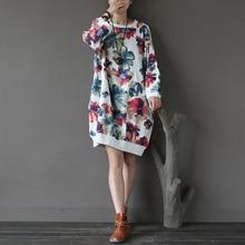 Women Autumn New Knitted Retro Floral Print Lantern-sleeved Long Terry Cotton Hoodies Sweatshirts Maxi Tops Loose Sweatshirts