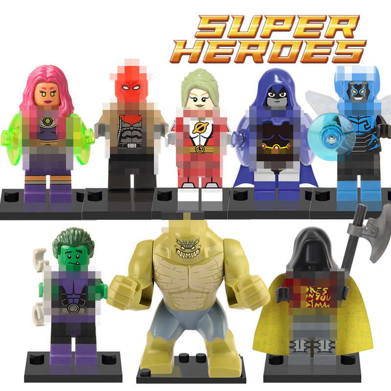 1PC Super Hero Blue Beetle Robin Raven Red Hood Building Blocks Avengers Teen Titans Batman Action Kids Bricks Toys Figures building blocks agent uma thurman peeta dc marvel super hero star wars action bricks dolls kids diy toys hobbies kl069 figures