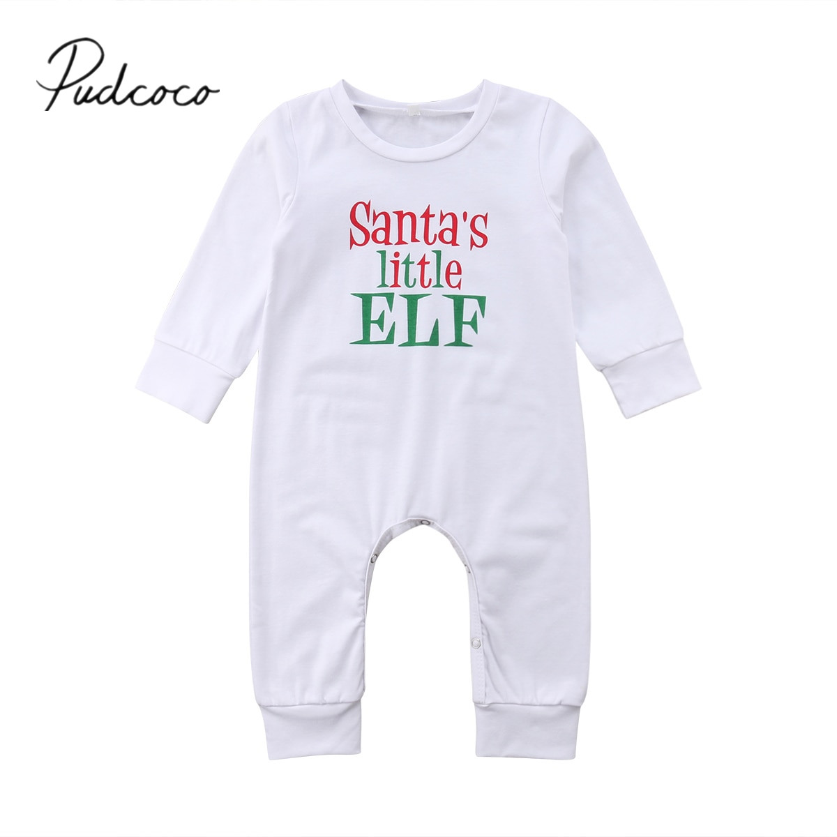 Toddler Baby Girl Boys Long Sleeve Letter Print Christmas Jumpsuit Romper Outfit