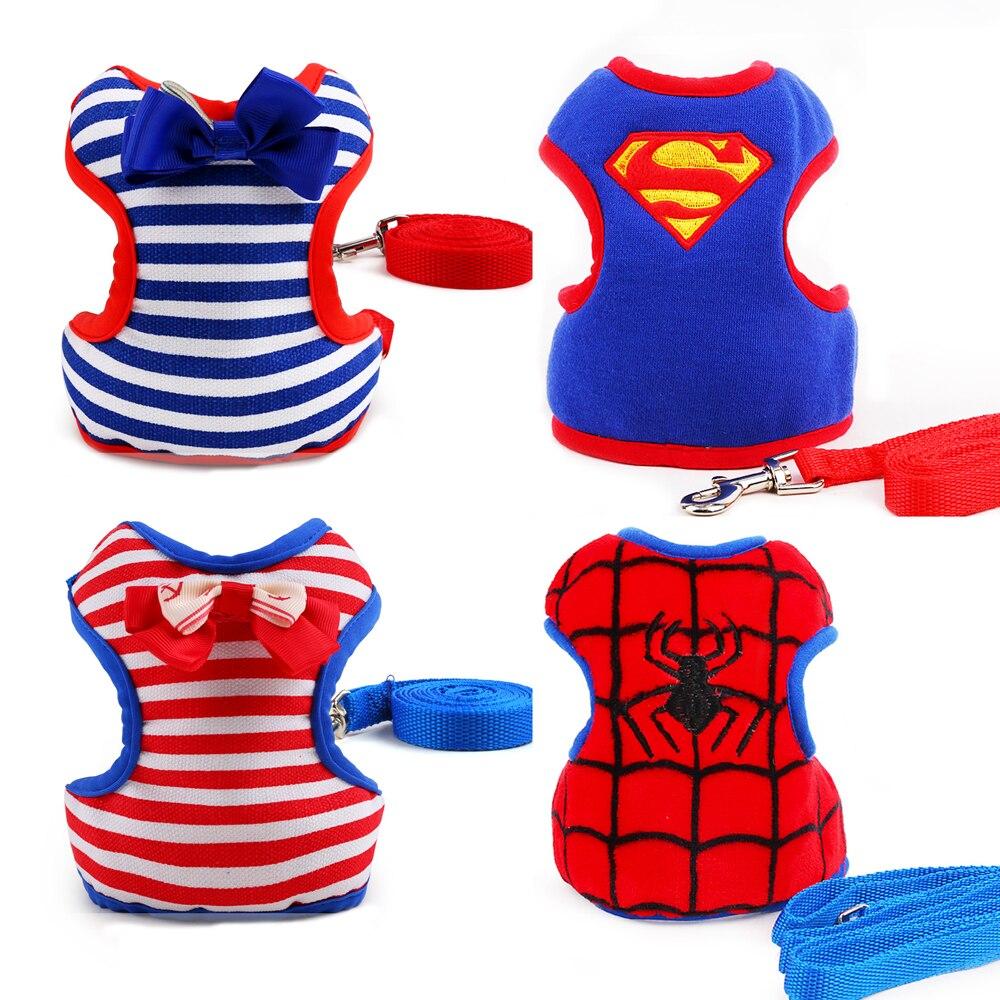Adjustable Small <font><b>Medium</b></font> Pet <font><b>Dog</b></font> Leads Harness Set Cute Puppy Cat Leads Superman <font><b>Spiderman</b></font> Protection Comfort Strap Vest