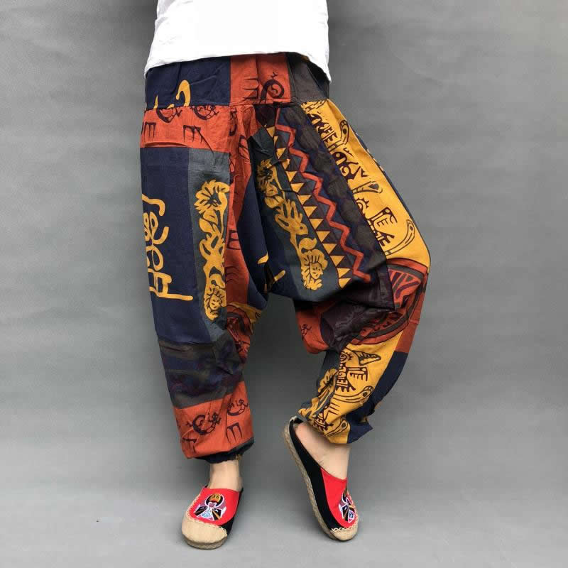 Baggy Harem Pants Women Causal Print Hippie Joggers Cross Pants Loose Trousers Aladdin Lantern Wide Leg