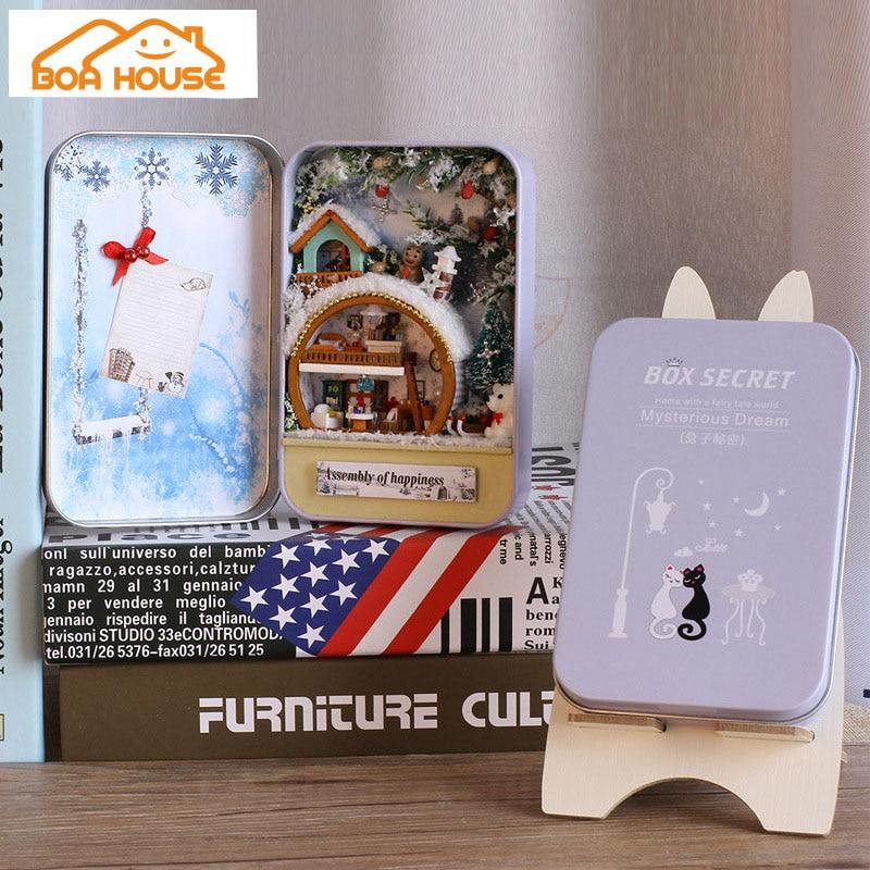 Кукольный домик деревянный миниатюрный Diy Кукольный дом Miniaturas игрушечный дом на день рождения креативная Подарочная коробка тайная загадочная мечта
