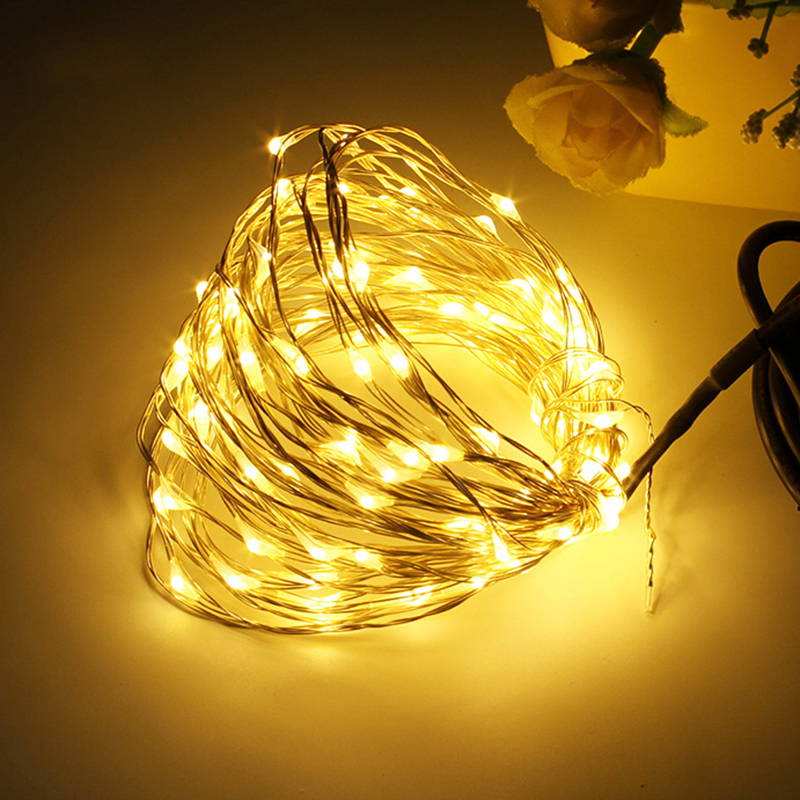 Grnflashing 10M 100 Leds DC 12V Copper Wire Fairy String Lights Christmas Festival Wedding Party Holiday Decoration Lighting