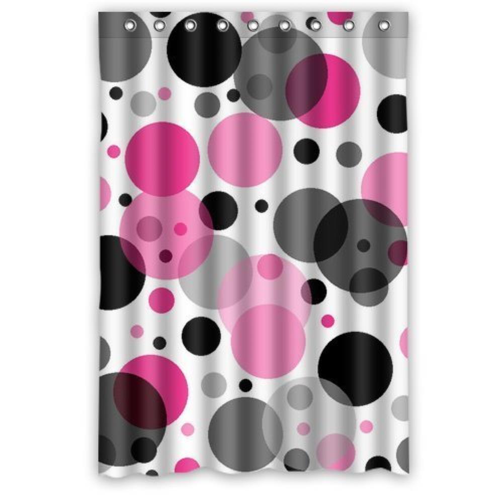 Purple polka dot curtains - Black And Purple Polka Dot Custom Shower Curtain Pattern Waterproof Shower Curtain For Bathroom 66 72inch