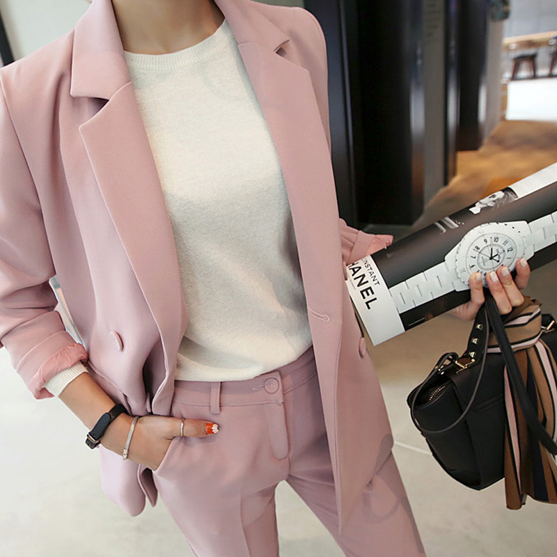 Set Feminine Autumn New Model Was Skinny Double-Breasted Temperament Pink Small Go well with Jacket + Informal Elegant 9 Pants 2-Piece Set