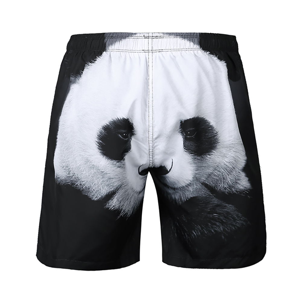 panda Pattern Beach   Shorts   with Pocket and Linner Elastic Quick Dry Sports Bottom Homme for Men Loose 2019 Summer   Board     Shorts