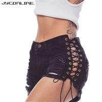 JYConline Sexy Short Jeans Women Lace Up Shorts Female High Waist Ripped Denim Shorts Women Short
