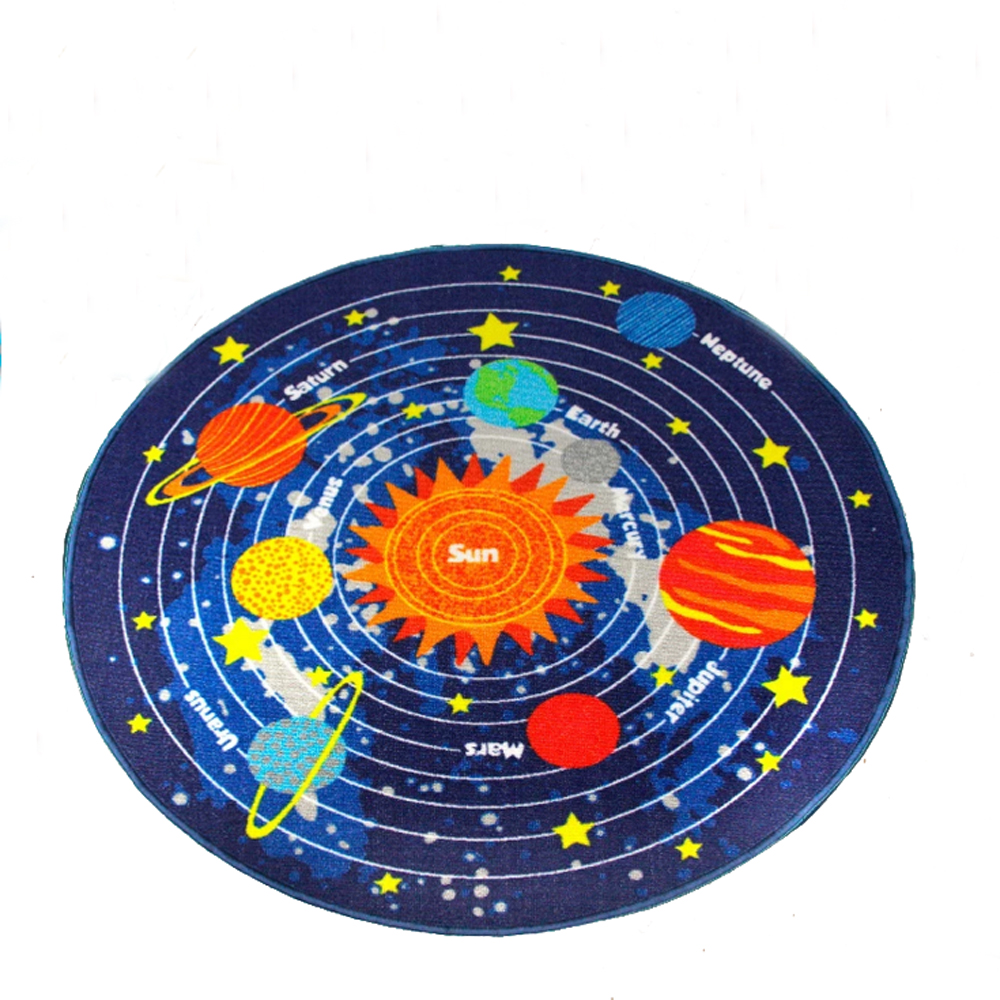 Rubber back outer space round rug star moon sun rocket for Outer space planning and design group
