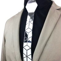 Fashion Slim Mirror Necktie Men Wedding Party Costume Night Club Accessory Silver Diamond Plaid Acrylic Silk Ties Blazers Outfit