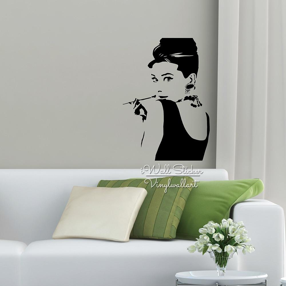 Lady Audrey Hepburn Wall Sticker Audrey Hepburn Wall Decal Diy