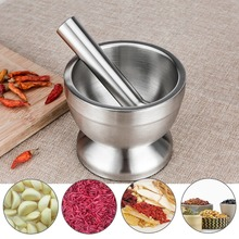 Eco-Friendly Double Stainless Steel Garlic Grinder Pepper Chillies Dried Food Mills Herb Mincers Metal Mortar Salt Pestle