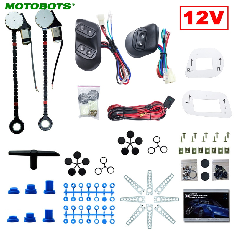 MOTOBOTS 1Set DC12V Universal 2-Doors Electric Power Window Kits With 3pcs/Set Switches & Wire Harness