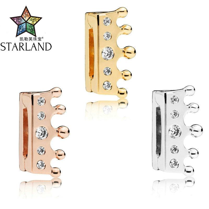 Schuhe Starland Feine Detail 100% 925 Sterling Silber Krone Clip Charme & Cz Spiel Rflexions Armband Anzug Party Geschenk Für Frauen Mangelware