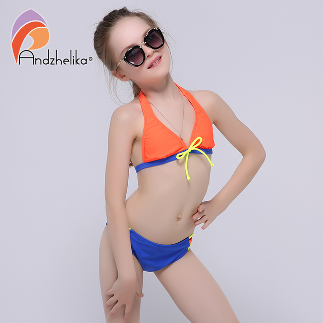 Andzhelika 2017 Summer Girls Bikini Cute Bow Two-Piece Suits Children Swimwear big Bottom Swimming Suit Kid Bathing Suit