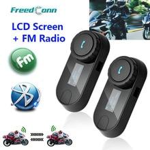 Nueva Versión Actualizada! 2 unids * FreedConn T-COMSC Interphone Bluetooth Casco de La Motocicleta Intercom Headset Pantalla LCD + Radio FM