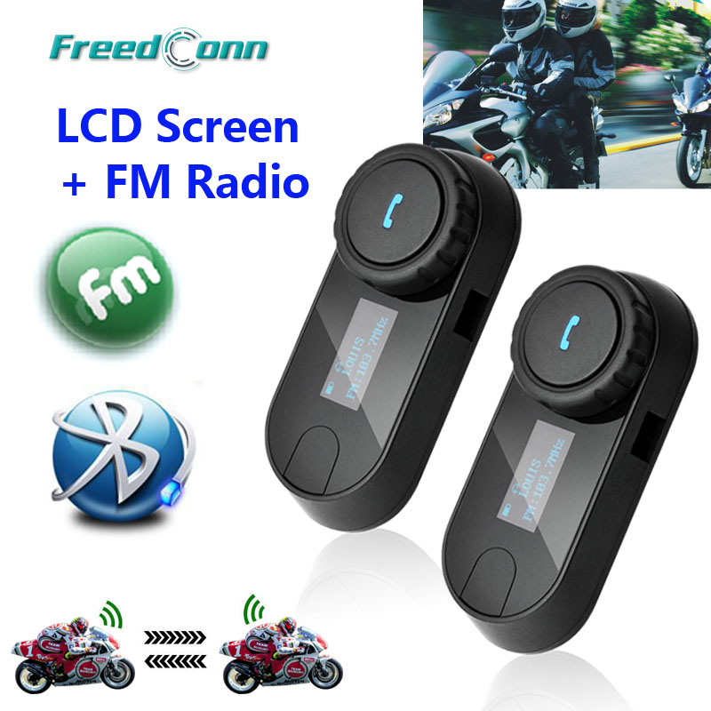 New Updated Version! 2pcs * FreedConn T-COMSC Bluetooth Motorcycle <font><b>Helmet</b></font> Intercom Interphone Headset LCD Screen + FM Radio