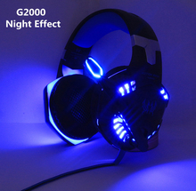 Cada G2000 bajo profundo LED Stereo Auriculares auriculares con micrófono profesional jugador + juego de ratón óptico USB juego ratones DPI regalo