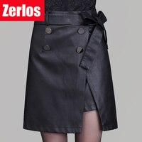 2016 Autumn And Winter New Fashion Women PU Faux Leather Skirt Split Women Hign Waist Black