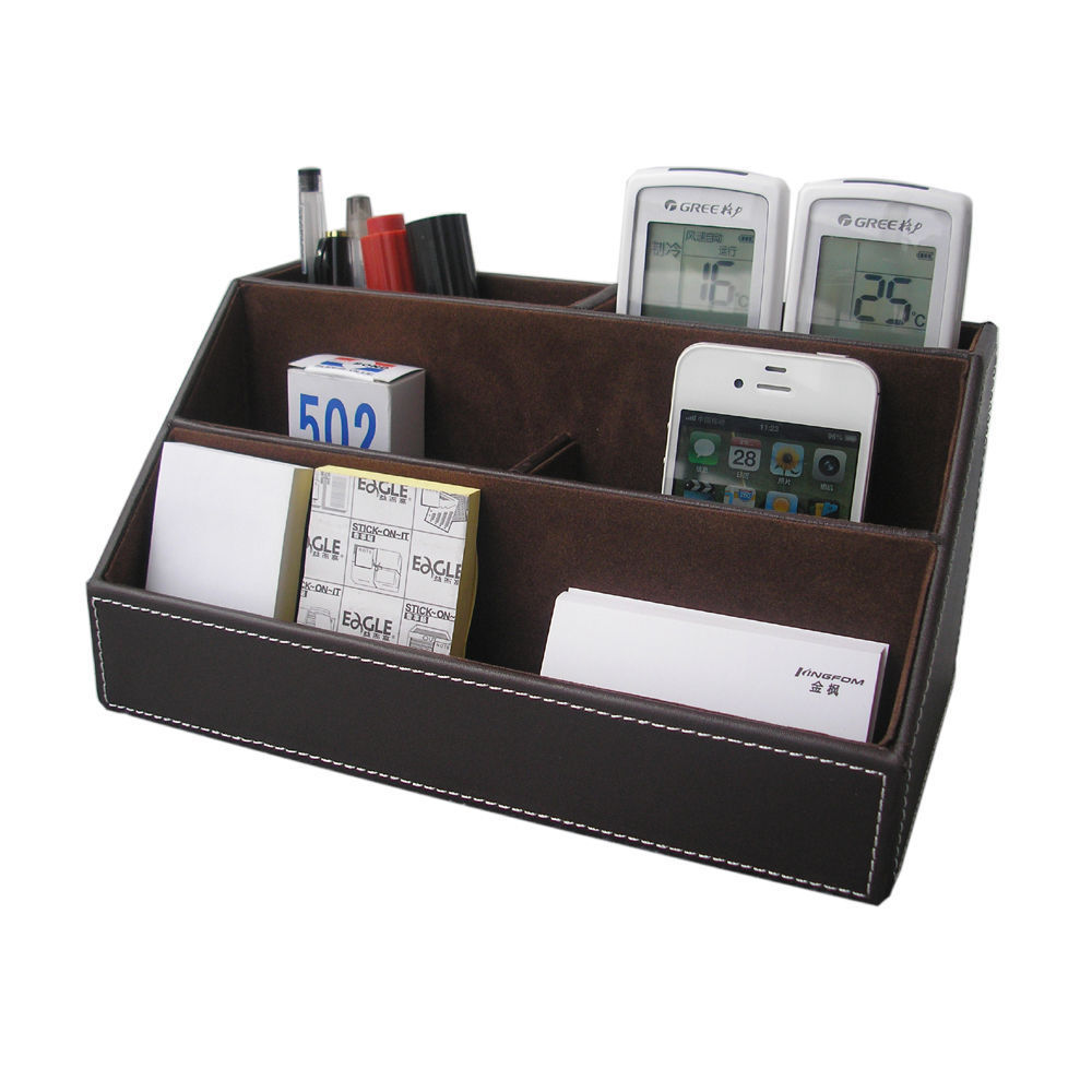 Luxury Leather 6PCS/Set Office Desk Organizer Set Stationery Holder ...